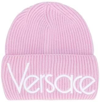 Versace logo ribbed beanie