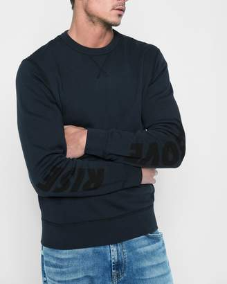 7 For All Mankind Rise Above Crewneck Sweatshirt in Navy