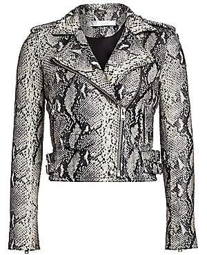 IRO Women's Ashville Python-Print Leather Moto Jacket