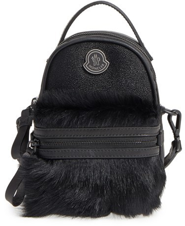 Moncler Moncler Georgine Genuine Calf Hair & Embossed Leather Trim Crossbody Bag - Black