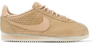 Nike Cortez Se Metallic Lizard-effect Faux Leather Sneakers - Gold