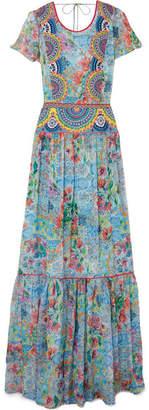 Matthew Williamson - Deia Fiesta Embroidered Printed Silk-chiffon Maxi Dress - Light blue