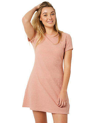 MinkPink New Women's Gentle Brushed Rib Mini Dress Pink