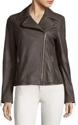 T Tahari Skylar Leather Biker Jacket