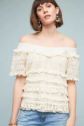 Love Sam Tasseled Off-The-Shoulder Top $118 thestylecure.com