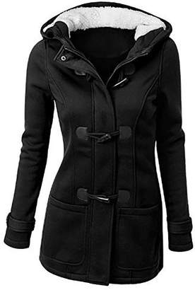 iBaste Women Upgraded Outdoor Warm Trench Wool Blended Pea Coat Hooded Jacket