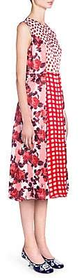 Marni Women's Sleeveless Printed Patchwork Shift Dress