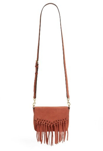 Rebecca Minkoff Rebecca Minkoff Small Rapture Suede Shoulder Bag - Red