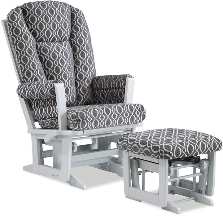 Dutailier Modern Multi-Position Reclining Glider and Ottoman in Grey/Charcoal