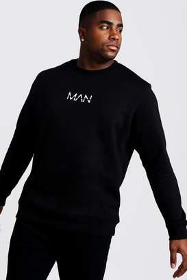 boohoo Big & Tall Sweater With MAN Print