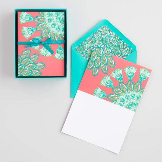 Abstract Jungle Kraft Notecards Set of 12
