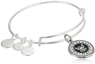 Alex and Ani Armed Forces US Navy Expandable Gold Wire Bangle Charm Bracelet