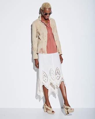 XCVI Daru Eyelet-Hem Linen Midi Skirt