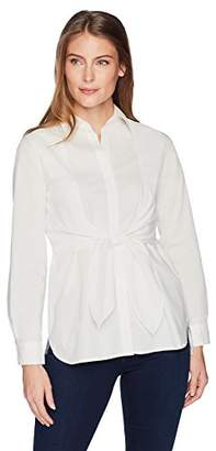 Lark & Ro Amazon Brand Women's Woven Shirt with Knotted Waist