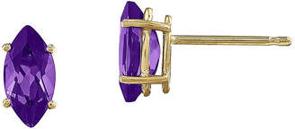 FINE JEWELRY Marquise-Cut Genuine Amethyst 14K Yellow Gold Stud Earrings