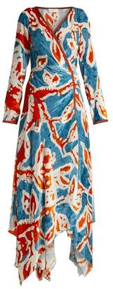 Peter Pilotto Floral Print Velvet Wrap Dress - Womens - Blue Print