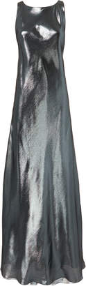 Alberta Ferretti Grey Lame Gown