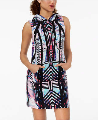 Material Girl Active Juniors' Printed Hooded Sweatshirt Dress, Created for Macy's