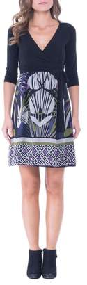 Olian Print Silk & Jersey Surplice Maternity Dress