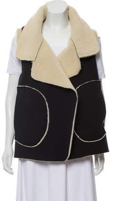 Norma Kamali Sherpa Open-Front Vest Black Sherpa Open-Front Vest