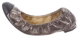 Chanel Metallic Cap-Toe Flats