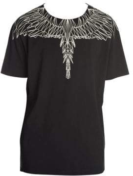 Marcelo Burlon County of Milan Men's Geometric Wings Tee - Black Silver - Size XS