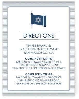 Torah Invite Mitzvah Direction Cards