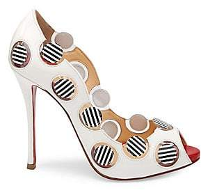Christian Louboutin Women's Lady Bug 120 Polka Dot Peep Toe Pumps
