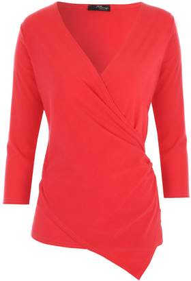 Jane Norman Ribbed Wrap Top