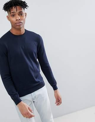 Benetton Crew Neck Knit Sweater 100% Cotton in Navy