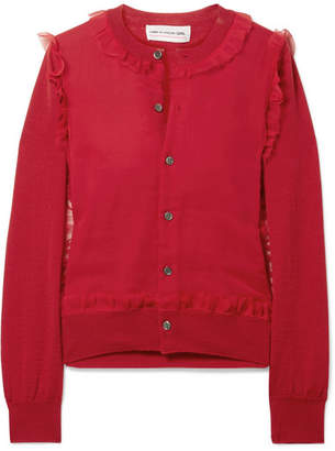 Comme des Garcons Ruffled Georgette-paneled Wool Cardigan
