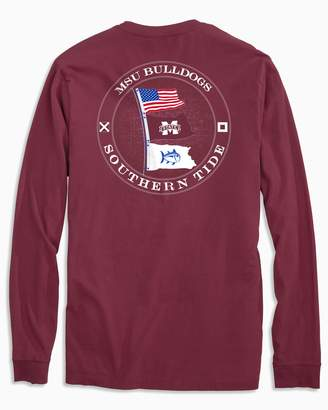 Southern Tide Gameday Nautical Flags Long Sleeve T-shirt - Mississippi State University