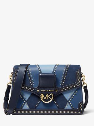 Michael Kors Jessie Large Suede And Leather Patchwork Shoulder Bag