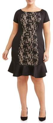 Paperdoll Women's Plus Size Boat Neck Fluted Skirt Lace Dress
