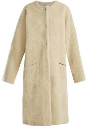 Raey Long Line Shearling Coat - Womens - Ivory