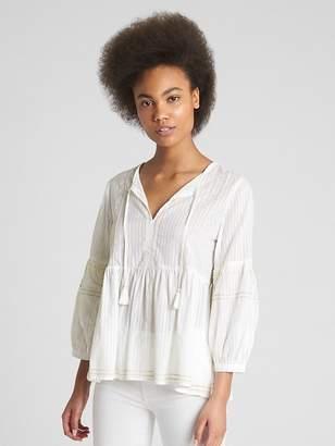 Gap Long Sleeve Embroidered Split-Neck Blouse