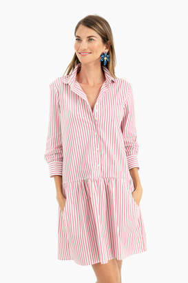 The Shirt by Rochelle Behrens Nantucket Red Striped Drop Waist Shirt Dress