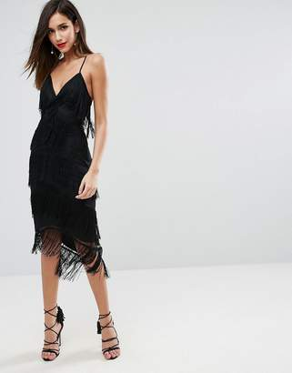 Asos Fringe Mesh Strappy Midi Bodycon Dress