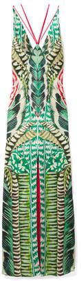 Temperley London Garden Leaf Satin-jacquard Maxi Dress - Green