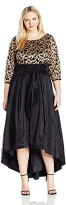Eliza J Women's Plus Sizes Fit & Flare Dress with High-Low Skirt, Black/Gold