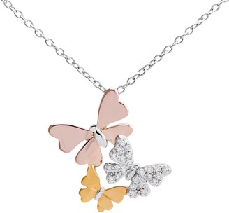 Hallmark Tri-Tone Sterling Silver Cubic Zirconia Butterfly Pendant