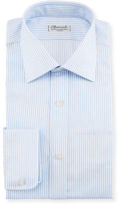 Charvet Striped Dress Shirt, White/Blue