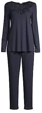 Hanro Women's Flora Long-Sleeve Pajama Top & Pant Set