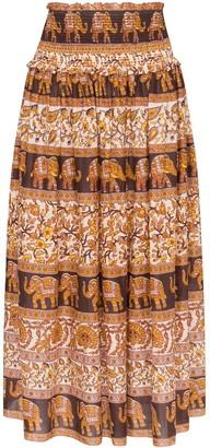 Zimmermann Suraya smocked elephant print skirt