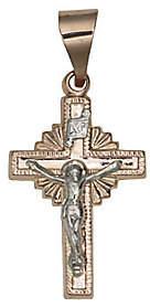 Rosegold QVC Sunburst Cross Pendant with Crucifix, 14K RoseG old