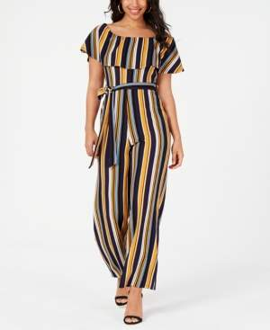 Almost Famous Juniors' Printed Ruffle Jumpsuit