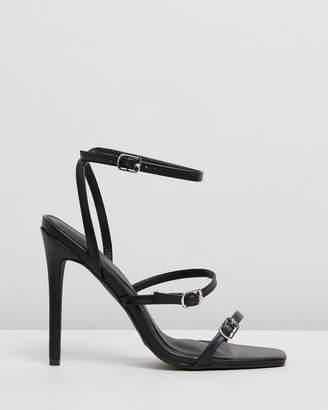 Missguided Buckle Three-Strap Barely-There Heels