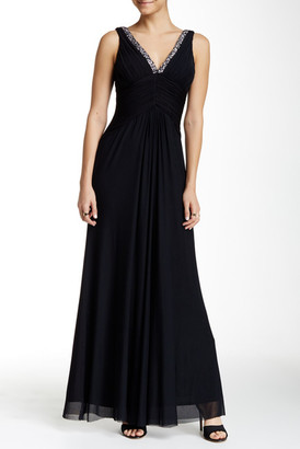 Marina Double V Ruched Embellished Gown $189 thestylecure.com