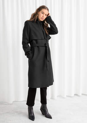 And other stories Belted Wool Blend Trenchcoat