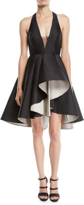 Halston Colorblock Mini Dress w/ Dramatic Skirt